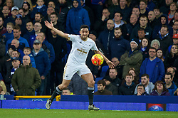 LIVERPOOL, ENGLAND - Sunday, January 24, 2016: Swansea City's Neil Taylor in action against Everton during the Premier League match at Goodison Park. (Pic by David Rawcliffe/Propaganda)