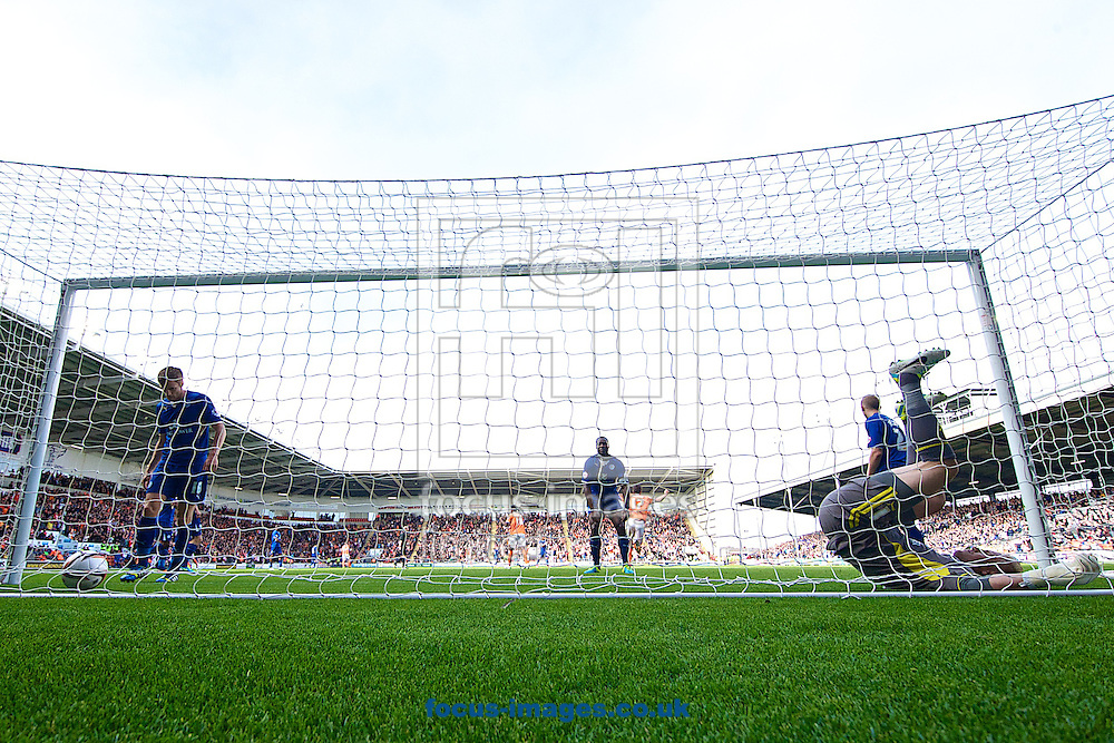 Picture by Ian Wadkins/Focus Images Ltd +44 7877 568959<br /> 21/09/2013<br /> Kasper Schmeichel of Leicester City is left in the net after failing to stop Chris Basham of Blackpool scoring to make it 1-0 during the Sky Bet Championship match at Bloomfield Road, Blackpool.