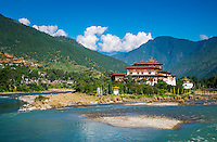 PUNAKHA, BHUTAN - CIRCA October 2014: View of the Punakha Dzong, a landmark in Punakha, Bhutan