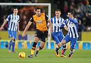 Hull City midfielder Jake Livermore (14) during the Sky Bet Championship match between Hull City and Brighton and Hove Albion at the KC Stadium, Kingston upon Hull, England on 16 February 2016.