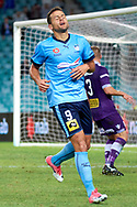 April 29, 2017: Sydney FC forward Bobo (9) dissapointed with missing the goal at Semi Final one of the 2016/17 Hyundai A-League match, between Sydney FC and Perth Glory, played at Allianz Stadium in Sydney.