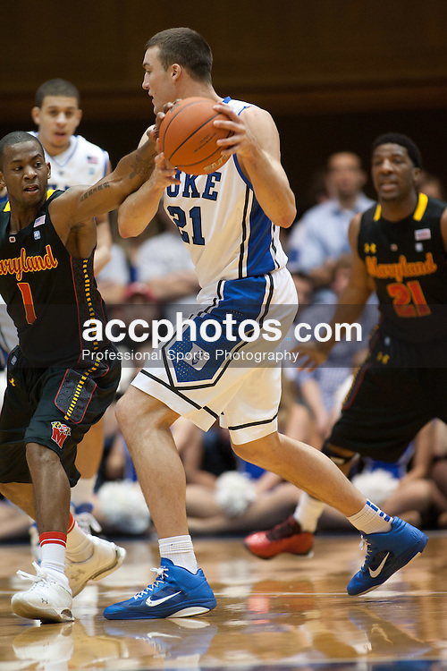DURHAM, NC - JANUARY 09: Adrian Bowie #1 of the Maryland Terrapins pressures Miles Plumlee #21 of the Duke Blue Devils on January 09, 2011 at Cameron Indoor Stadium in Durham, North Carolina. Duke won 71-64. (Photo by Peyton Williams/Getty Images) *** Local Caption *** Adrian Bowie;Miles Plumlee