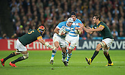 London, Great Britain, Juan Manuel LEGUIZAMON goes for the gap. left Victor MATFIELD and right Eban ETZEBETH. South Africa vs Argentina. 2015 Rugby World Cup, Bronze Medal Match.Queen Elizabeth Olympic Park. Stadium, Stratford. East London. England,, Friday  30/10/2015. <br />