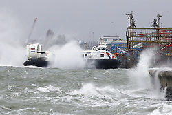 © Licensed to London News Pictures. 13/01/2020. Portsmouth, UK. The Isle of Wight Hovercraft braves the conditions as Storm Brendan brings high waves and windy conditions to the seafront in Portsmouth. Some parts of the UK are feeling the force of storm Brendan as it arrives from the Atlantic. Photo credit: Peter Macdiarmid/LNP