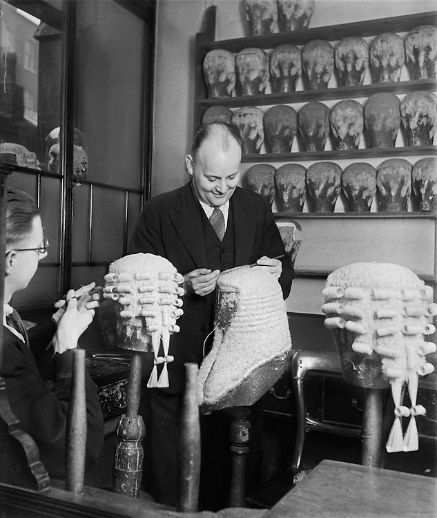 Wigworkers Shop, Temple, London, England, 1934