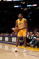 15 January 2010: Forward Ron Artest of the Los Angeles Lakers shoots a jumpshot against the Los Angeles Clippers during the second half of the Lakers 126-86 victory over the Clippers at the STAPLES Center in Los Angeles, CA.