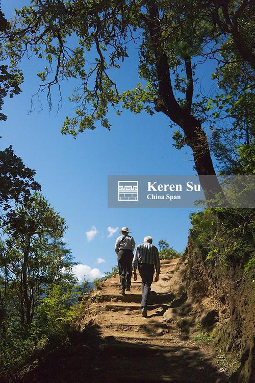 Western traveler hike in the mountain, Bhutan
