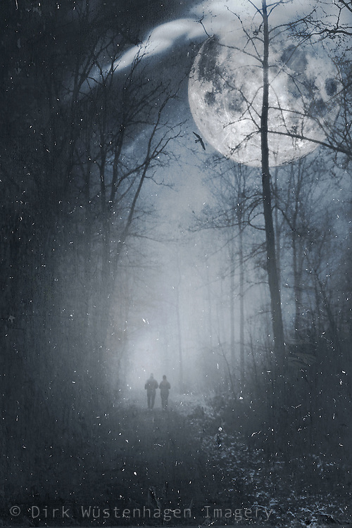 Surreal night scene with two people on a street und the light of the full moon.