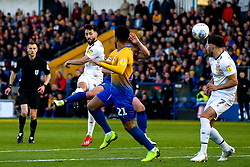 Josh Sheehan of Newport County shoots at goal - Mandatory by-line: Robbie Stephenson/JMP - 12/05/2019 - FOOTBALL - One Call Stadium - Mansfield, England - Mansfield Town v Newport County - Sky Bet League Two Play-Off Semi-Final 2nd Leg
