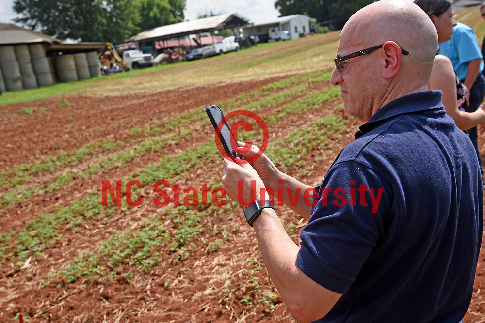 Law enforcement officer takes a photo of industrial hemp growing at the Piedmont Research Station during a tour of the farm.