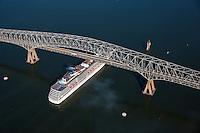 Aerial of Carnival Cruise Ship underFrancis Scott Key Bridge