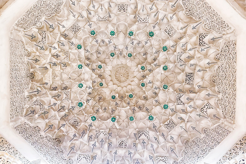 Sculpted ceiling in the Medersa Ben Youssef in Marrakech.