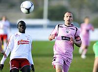 """Fotball , 5. mars 2012, Privatkamp , Fredrikstad - Hønefoss 1-2<br /> Mouhamed Gueye  , FFK <br /> """"Momo""""<br /> Frode Lafton , Hønefoss"""