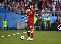 (180616) -- SARANSK, June 16, 2018 -- Simon Kjaer of Denmark reacts during a group C match between Peru and Denmark at the 2018 FIFA World Cup WM Weltmeisterschaft Fussball in Saransk, Russia, June 16, 2018. ) (SP)RUSSIA-SARANSK-2018 WORLD CUP-GROUP C-PERU VS DENMARK HexCanling PUBLICATIONxNOTxINxCHN