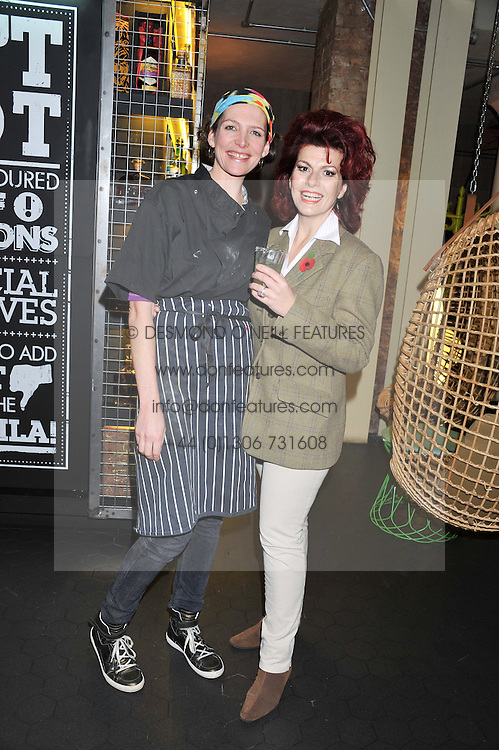 Left to right, THOMASINA MIERS and CLEO ROCCAS at a Mexican Feast cooked by Thomasina Miers in aid of the charity Too Many Women held at Wahaca Soho, 80 Wardour Street, London on 9th November 2011.