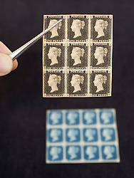 © Licensed to London News Pictures. 01/09/2011. London, UK. A  mint block of 1840 1d plate 4 Penny Black stamps (top) and a block of 12 1840 2d Penny Blue stamps (bottom)  estimated to fetch £130,000 to £150,000 and £80,000 to £120,000 respectively at a Sotheby's sale of The Philatelic Collection of Lord Steinberg on September 6-8 2011. The whole collection is expected to fetch in the region of £4 million. Photo credit: Ben Cawthra/LNP