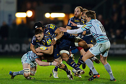 Worcester Flanker (#6) Sam Betty is tackled by Leicester Flanker (#6) Tom Croft and Fly-Half (#10) Toby Flood during the first half of the match - Photo mandatory by-line: Rogan Thomson/JMP - Tel: Mobile: 07966 386802 04/01/2012 - SPORT - RUGBY - Sixways - Worcester. Worcester Warriors v Leicester Tigers - Aviva Premiership.