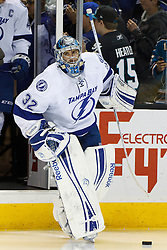 Dec 21, 2011; San Jose, CA, USA; Tampa Bay Lightning goalie Mathieu Garon (32) enters the ice before the game against the San Jose Sharks at HP Pavilion. San Jose defeated Tampa Bay 7-2. Mandatory Credit: Jason O. Watson-US PRESSWIRE