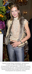 Fashion writer TRINNY WOODALL, at a party in London on 29th April 2002.<br />OZL 167