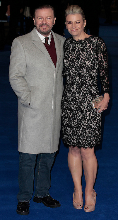 """Dec 9, 2014 - """"Night At The Museum: Secret Of The Tomb"""" - European Premiere - Red Carpet Arrivals at Empire,  Leicester Square, London<br /> <br /> Pictured: Ricky Gervais and Jane Fallon<br /> ©Exclusivepix Media"""