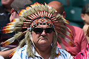 An Exeter fan wears his head dress during the Gallagher Premiership Rugby Final match between Exeter Chiefs and Saracens at Twickenham, Richmond, United Kingdom on 1 June 2019.