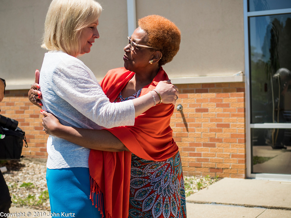 26 MAY 2019 - WATERLOO, IOWA: US Senator KIRSTEN GILLIBRAND (D-NY), left, greets a church leader at Mt. Carmel Missionary Baptist Church in Waterloo. Sen. Gillibrand is on her 5th trip to Iowa this week to support her candidacy to be the Democratic nominee for the US Presidency. Iowa traditionally hosts the the first selection event of the presidential election cycle. The Iowa Caucuses will be on Feb. 3, 2020. Mt. Carmel Missionary Baptist Church was established in 1921 and is the third oldest African-American church in Waterloo. Waterloo has the largest African-American community in Iowa.            PHOTO BY JACK KURTZ