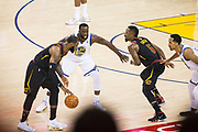 Golden State Warriors forward Draymond Green (23) defends Cleveland Cavaliers forward LeBron James (23) during Game 1 of the NBA Finals at Oracle Arena in Oakland, Calif., on May 31, 2018. (Stan Olszewski/Special to S.F. Examiner)