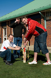 Volunteers from NatWest  help Handsworth Cricket Club based at the Handsworth Junior Sporting Club as part of the NatWest Cricket Force initiative. left to right Natwest Senior Bank Manager Outer Sheffield Colin Waddington, Simon Thacker Handsworth Cricket Club Secretary and Adam Walker Club official and Natwest Earl Street Manager.  27 March 2010.Images © Paul David Drabble.