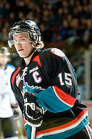 KELOWNA, CANADA, NOVEMBER 25: Colton Sissons #15 of the Kelowna Rockets skates on the ice as the Kootenay Ice visit the Kelowna Rockets  on November 25, 2011 at Prospera Place in Kelowna, British Columbia, Canada (Photo by Marissa Baecker/Shoot the Breeze) *** Local Caption *** Colton Sissons;