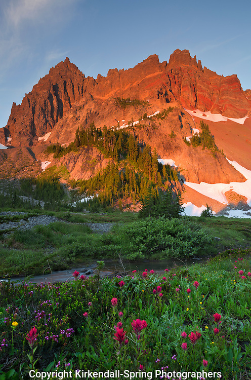 OR01865-01...OREGON - Sunrise on Three Fingered Jack from the Upper Canyon Creek Meadow in the Mount Jefferson Wilderness area.