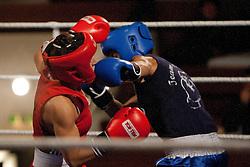 29.10.2011, Stadtsaal, Lienz, AUT, Dolomiten Box Turnier 2011, im Bild Barbara Batyi (HUN, L) im Bantam Kampf bis 54 gegen Heike Hoffmann (GER, R) // Barbara Batyi of Hungary ( L ) during Bantam weight boxing fight against Heike Hoffmann of Germany ( R ) at Dolomite Boxing tournament 2011 at Stadtsaal in Lienz, Austria on 29/10/2011. EXPA Pictures © 2011, PhotoCredit: EXPA/ Johann Groder
