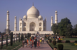 Taj Mahal at Agra; India; during the day with many tourists,