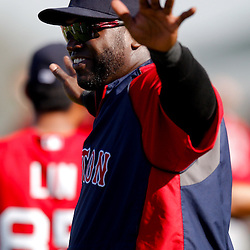 February 23, 2011; Fort Myers, FL, USA; Boston Red Sox first baseman David Ortiz (34) during spring training at the Player Development Complex.  Mandatory Credit: Derick E. Hingle