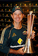 Australian cricket captain Ricky Ponting poses for a photo with the Chappell Hadlee trophy after rain stopped play in the 5th ODI cricket match between the New Zealand Black Caps and Australia at the Gabba, Friday 13 February 2009 Brisbane, Australia. Photo: Andrew Cornaga/PHOTOSPORT