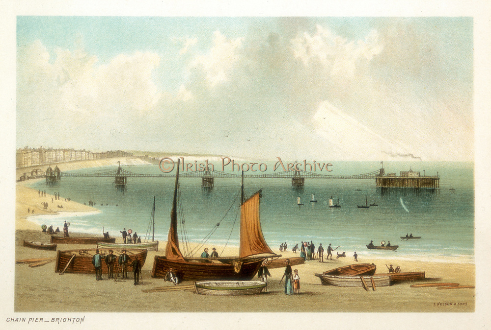 Chain Pier, Brighton, Sussex. Original design by Samuel Brown, Royal Navy, opened in November 1823, survived until 29 November 1836 when it failed in a storm. Chromolithograph published 1889.