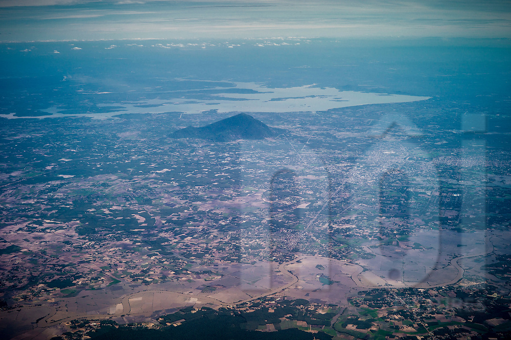 Aerial view of Tay Ninh and Dau Tieng lake, Vietnam, Southeast Asia