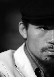 Manny Pacquiao attends the press conference for his fight with Ricky Hatton at the MGM Grand, Las Vegas, Nevada, 29th April 2009.
