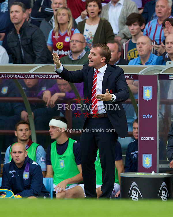 LIVERPOOL, ENGLAND - Saturday, August 24, 2013: Liverpool's manager Brendan Rodgers against Aston Villa during the Premiership match at Villa Park. (Pic by David Rawcliffe/Propaganda)