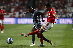 September 19, 2018 - Lisbon, Portugal - Serge Gnabry of Bayern Munchen (L) vies for the ball with Andre Almeida of Benfica (R)  during Champions League 2018/19 match between SL Benfica vs FC Bayern Munchen, in Lisbon, on September 19, 2018. (Credit Image: © Carlos Palma/NurPhoto/ZUMA Press)