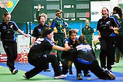 New Zealand Under 19 girls celebrate a wicket against tournament favourites Australia. New Zealand eventually eliminated Australia from the finals and played the Grand Final against ultimate Under 19 Girl champions, South Africa. <br /> 2003 Indoor Cricket World Under 19 Championships, Christchurch, New Zealand