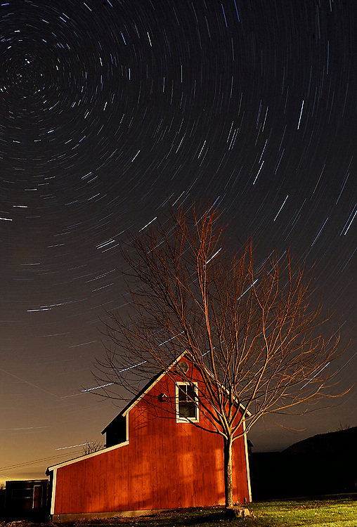 Vermont barn at night, 24 minute exposure