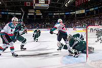 KELOWNA, CANADA - FEBRUARY 2: Carter Hart #70 of the Everett Silvertips makes a glove save during first period against the Kelowna Rockets on FEBRUARY 2, 2018 at Prospera Place in Kelowna, British Columbia, Canada.  (Photo by Marissa Baecker/Shoot the Breeze)  *** Local Caption ***