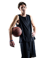 one caucasian basketball player man isolated in silhouette shadow on white background