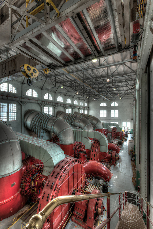 Dean Davis is a commercial photographer based in Spokane Washington and focuses on architecture, heavy industry, advertising, banking, transportation as well as personal fine art work. This image was made for Avista Utilities inside the powerhouse at Little Falls Dam.