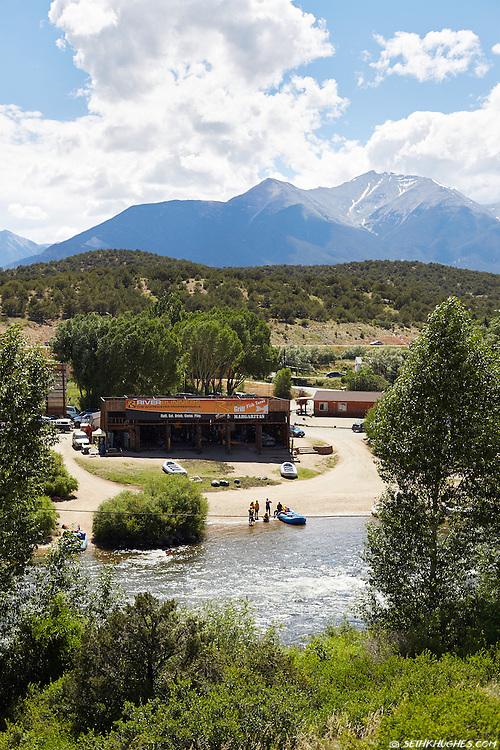 Summer at River Runners rafting company on the Arkansas River near Buena Vista, Colorado.