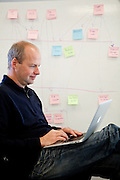 Udacity co-founder Professor Sebastian Thrun works at their Palo Alto, Calif. office, February 24, 2012.