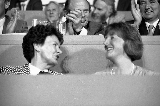 Fianna Fáil Árd Fheis.  (R31)..1986..19.04.1986..04.19.1986..19th April 1986..The Fianna Fáil party held their Árd Fheis at the Simmonscourt, RDS,Dublin over this weekend. the keynote address was given by the party leader Mr Charles Haughey TD...Mrs Maureen Haughey and daughter Eimer are pictured listening to the keynote address from Charles Haughey.