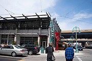 View of the Milwaukee Public Market, in the Historic Third Ward of Milwaukee, Wisconsin, USA, corner of N. Broadway and E. St. Paul Avenue.