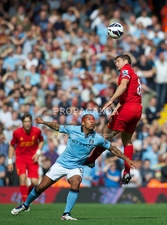 LIVERPOOL, ENGLAND - Sunday, August 26, 2012: Liverpool's captain Steven Gerrard in action against Manchester City during the Premiership match at Anfield. (Pic by David Rawcliffe/Propaganda)