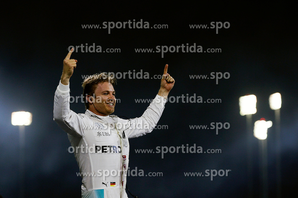 03.04.2016, International Circuit, Sakhir, BHR, FIA, Formel 1, Grand Prix von Bahrain, Rennen, im Bild Race winner Nico Rosberg (GER) Mercedes AMG F1 celebrates in parc ferme // during Race for the FIA Formula One Grand Prix of Bahrain at the International Circuit in Sakhir, Bahrain on 2016/04/03. EXPA Pictures &copy; 2016, PhotoCredit: EXPA/ Sutton Images/ Gasperotti/<br /> <br /> *****ATTENTION - for AUT, SLO, CRO, SRB, BIH, MAZ only*****